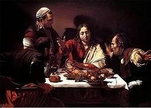 Kolacja w Emaus Caravaggio mógł celowo namalować cień ryby w dolnej części ob...