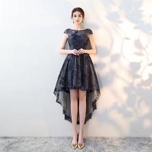 Eleganckie Granatowe Sukienki Koktajlowe 2018 Princessa Koronkowe Wycięciem Bez Pleców Asymetryczny Sukienki Wizytowe