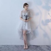 Eleganckie Szary Princessa Sukienki Koktajlowe 2018 Z Koronki Kwiat Wycięciem Bez Rękawów Asymetryczny Sukienki Wizytowe