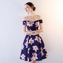 Piękne Królewski Niebieski Strona Sukienka 2018 Princessa Druk Przy Ramieniu Bez Pleców Bez Rękawów Długość do kolan Sukienki Wizytowe