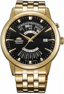 Orient FEU0A002BH męski zegarek mechaniczny nakręcany ruchem ręki. Wykonany ze stali w odcieniu żółtego złota. Wyposażony w czarną tarczę i rozbudowany datownik. Aby przenieść s...