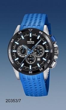 Festina 20353/7 męski zegarek zasilany kwarcowym mechanizmem. Do stalowej koperty  przymocowano niebieski pasek z tworzywa.  Wodoodporność klaruje się w 100 metrach, co daje moż...