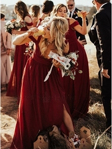 A-Line V-Neck Cold Shoulder Burgundy Bridesmaid Dress