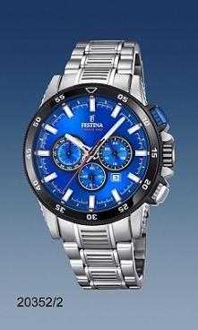Festina 20352/2  zegarek męski w sportowym stylu, wykonany w całości z antyalergicznej stali mocowany na bransolecie z wygodnym zapięciem. Wyróżnia go niebieski cyferblat z dato...