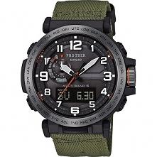 Casio PRW-6600YB-3ER stylowy zegarek z lekką koperta z tworzywa oraz zielonym materiałowym paskiem. Zasilany za pomocą energii słonecznej. Wyposażony w m.in. barometr, termometr...