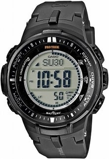 Casio PRW-3000-1ER sportowy zegarek dla mężczyzn zasilany energią słoneczną, wykonany z lekkiego tworzywa. Wyposażony w m.in. barometr, termometr, wysokościomierz. Wodoodporność...