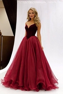 Burgundy A Line Sweep Train Sweetheart Strapless Sleeveless Mid Back Layers T...