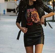 Rockowa stylówka ze skórzaną spódnicą