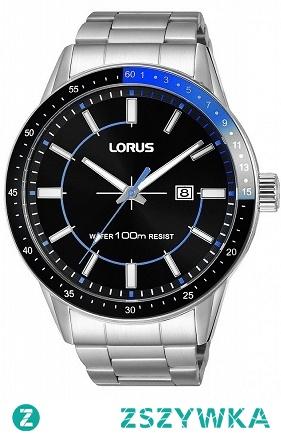 Lorus RH957HX9 sportowy zegarek na bransolecie z czarną tarczą oraz czarno niebieskim bezelem. Wodoodporność 10 ATM, co daje możliwość pływania. Aby przenieść się do sklepu kliknij w zdjęcie :)
