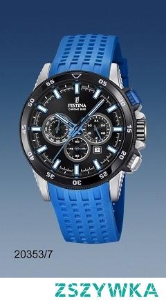Festina 20353/7 męski zegarek zasilany kwarcowym mechanizmem. Do stalowej koperty  przymocowano niebieski pasek z tworzywa.  Wodoodporność klaruje się w 100 metrach, co daje możliwość pływania z zegarkiem. Aby przenieść się do sklepu kliknij w zdjęcie :)