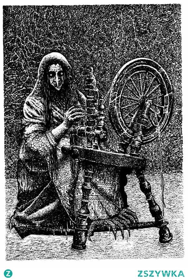 """DEMONY DOMOWE Kikimora, sziszimora lub szyszymora to żeński, szkodliwy duch domowy, szczególnie znany na terenach Rusi. Z tamtejszych terenów prawdopodobnie wywodzi się jej nazwa, ponieważ staroruskie kykati oznaczało tyle co wyć, a jak wiemy, wycie wrzecion podczas nocnego przędzenia przez sziszimore, zwiastowało nieszczęście. Często określano ją stwierdzeniem """"zmora bez określonej twarzy"""". Jak w przypadku większości demonów słowiańskich, kikimora powstawała z poronionego płodu, dziecka zmarłego tuż po porodzie lub nagle zmarłej kobiety. W ostatnim przypadku mogła przyjąć twarz zmarłej matki, babki czy prababki i wtenczas demona takiego określało się domowichą (przypuszczalnie żona domowika). Domowicha w przeciwieństwie do kikimory była duchem opiekuńczym. Większa część aktywności kikimory polegała na przędzeniu i dzierganiu koronek, ukazywała się głównie nocą. Furkot jej wrzeciona uznawany był za zły znak, zwiastujący nieszczęście. Żywot uatrakcyjniały sobie poprzez psoty w postaci budzenia niemowląt, plątanie przędzy czy dokuczanie kurom. Szczególnie złośliwa bywała wobec mężczyzn. Sziszimory zamieszkiwały najwilgotniejsze części domostw. Najczęściej bywały to piwnice, lecz nie stanowiło dla niej problemu usadowienie się bezpośrednio pod podłogą lub na strychu. W celu obrony przed kikimorą stosowano podobne amulety ochronne jak w przypadku zmory.Kikomora pojawiała się pod postacią malutkiej i drobnej kobiety, mogącej stać się niewidzialną. Jej twarz była nieforemna, mało przypominająca ludzką. W niektórych przypadkach, rysy jej twarzy przypominały zmarłą kobietę z rodziny zamieszkującej dom. Zamiast nóg mogła mieć kurze łapki. Najczęściej widywano ją przy kołowrocie, na którym nocami przędła. W opowiadaniach o wiedźminie, jak i grze kikimora przedstawiana była jako pajęczak zamieszkujący kanały i bagienne tereny."""
