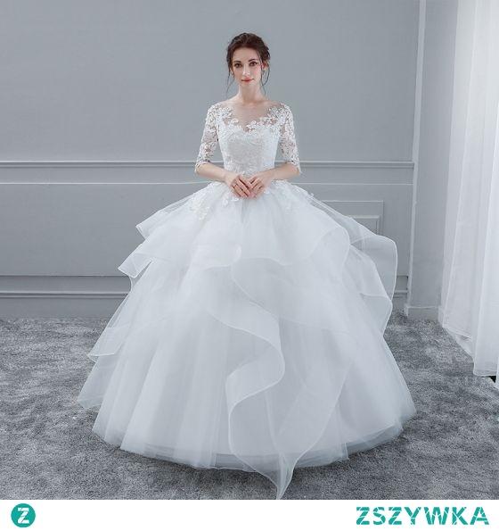2093d6e6e5 Eleganckie Białe Suknie ślubne 2018 Suknia Balowa Z Koronki Kwi Na