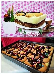 Ciasto Przysmaczek . Ciasto 6- jajek , ubijamy oddzielnie żółtka i białka 2/3...