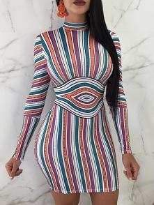 Slinky Colorful Striped Bodycon Dress Rozmiar: S, M, L, XL, 2XL Kolor: Multic...