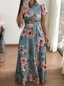 Floral Print Short Sleeve Tie Waist Maxi Dress Rozmiar: S, M, L, XL Kolor: tu...