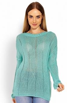 PeekaBoo 40007 sweter miętowy Kobiecy sweterek damski, wykonany z delikatnej i miękkiej dzianiny, luźny fason swietnie prezentuje się na sylwetce