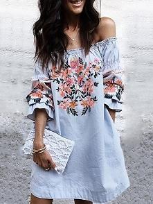 Hot Shirring Off Shoulder Floral Casual Dress Rozmiar: S, M, L, XL Kolor: blue