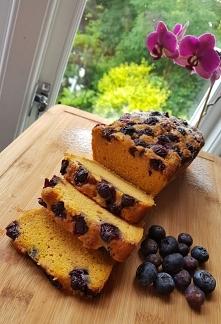 Dyniowe ciasto z borówkami  [ bez cukru, glutenu oraz wegańskie ]