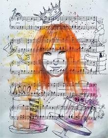 """""""PORTRET"""" praca wykonana akwarelą oraz piórkiem przez artystkę plastyka Adrianę Laube na papierze z nutami 33x26cm."""