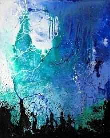 """""""TAM, GDZIE POWSTAJĄ GWIAZDY"""" obraz wykonany farbami akrylowymi przez artystkę plastyka Adrianę Laube na płótnie 100x80cm. Obraz naciągnięty na blejtram, sygnowany."""