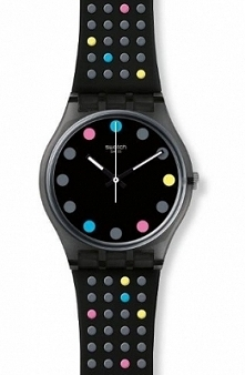 Swatch GB305 szwajcarski zegarek damski wykonany z miękkiego tworzywa, czarny w kolorowe kropki. Aby przenieść się do sklepu kliknij w zdjęcie :)