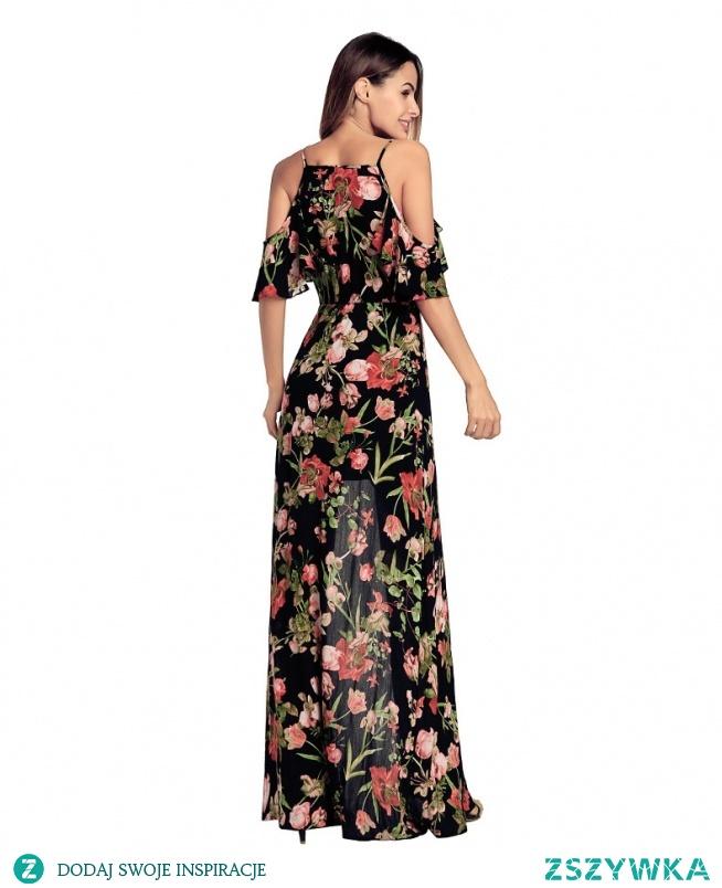 9c840f555c SUKIENKA MAXI DŁUGA BOHO ODKRYTE RAMIONA Piękna długa sukienka .. na ...