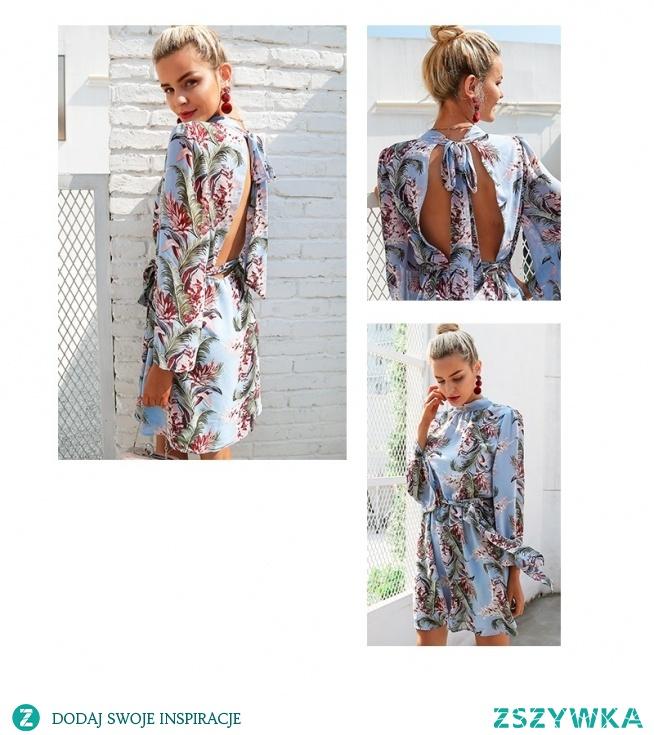 Kwiatowa sukienka damska idealna na komunię czy weselę. Oryginalne wiązanie na plecach przykuje uwagę!