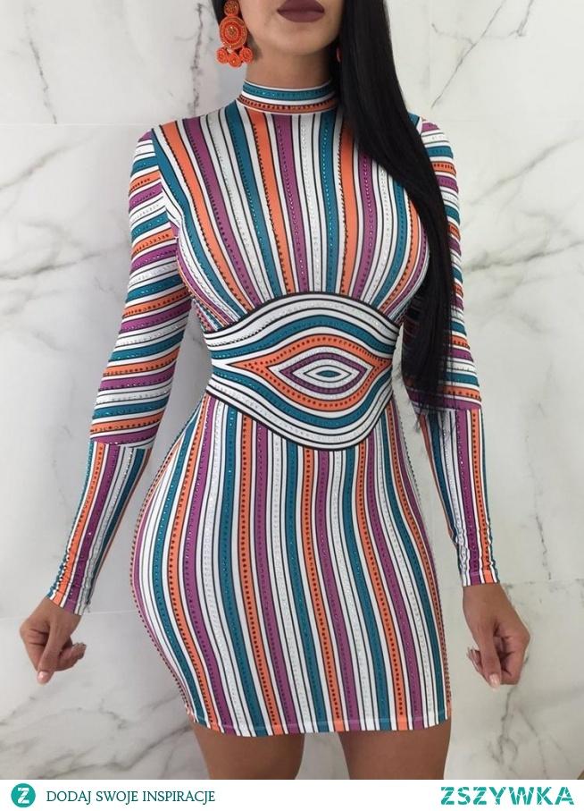 Slinky Colorful Striped Bodycon Dress Rozmiar: S, M, L, XL, 2XL Kolor: Multicolor