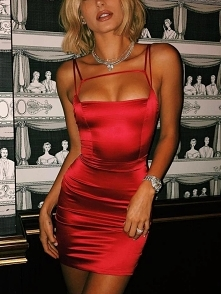 Sexy Solid Clubwear Bodycon Slip Dress Rozmiar: S, M, L, XL Kolor: red