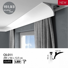 Listwa karniszowa oświetleniowa LED Mardom Decor ONE QL011 to gładka listwa maskująca pozbawiona tłoczeń i ornamentów. Listwa do zabudowy karnisza QL011 jest subtelna i łukowata...