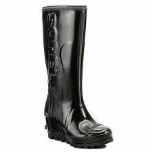 Kalosze SOREL - Joan Rain Wedge Tall Gloss NL2527 Black/Sea Salt 010