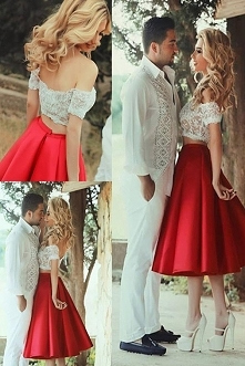 Red Off-Shoulder Two Piece White Lace Short Prom Dresses, Tea-Length Homecomi...