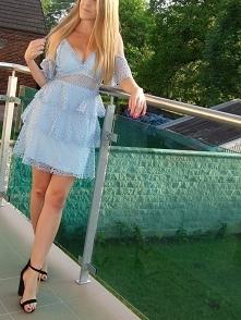 Koronkowa Błękitna Sukienka...