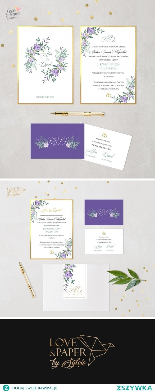 """Zaproszenia ślubne """"Fioletowe frezje"""" , składa się z jednej dużej karty z treścią zaproszenia i dwustronnie zadrukowanej mniejszej karty informacyjnej. Zaproszenia drukowane na wysokogatunkowym papierze podklejone sztywnym kartonikiem lustrzane złoto."""