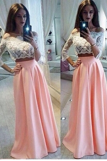 A-line Off-the-Shoulder 3/4 Sleeve Two Pieces White Lace Pink Satin Long Prom...