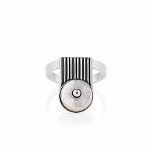 Wyjątkowy Srebrny Pierścionek - srebro 925, Masa perłowa