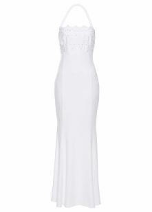 Sukienka ślubna z koronką bonprix biały
