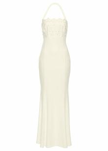 Sukienka ślubna z koronką bonprix szampan