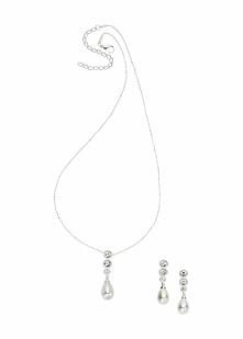 Komplet biżuterii bonprix srebrny kolor - biały