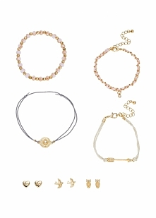 Komplet biżuterii z bransoletkami i kolczykami (7 części) bonprix złoty kolor...