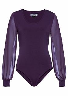 Body shape z szyfonowymi rękawami bonprix ciemny lila