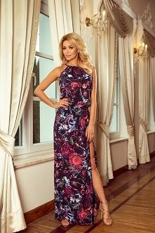 Długa suknia maxi w niepowtarzalne fioletowe kwiaty - idealna na lato - numoco