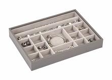 Pudełko na biżuterię 16 komorowe classic Stackers brązowo-szare