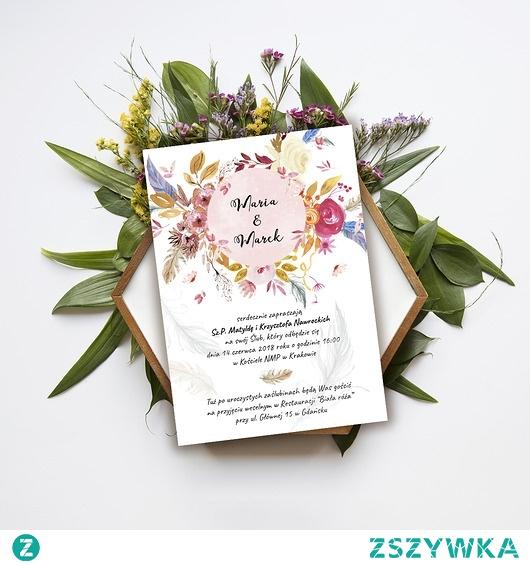 Zaproszenie ślubne Boho Wreath Na ślubny Niezbędnik Zszywkapl