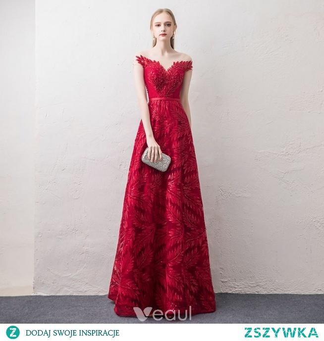 ce5a63702d Stylowe   Modne Czerwone Przezroczyste Sukienki Wieczorowe 2018.. na ...