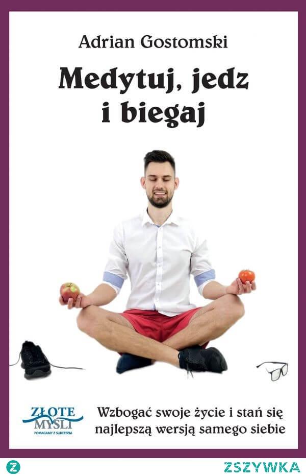 """Głównym celem książki Medytuj, jedz i biegaj jest przypomnienie jej czytelnikowi o konieczności dbania o własne ciało, umysł, a także o sferę duchową. Tekst książki skupia się więc wokół trzech konkretnych dziedzin.  W swojej książce """"Medytuj, jedz i biegaj"""" Adrian Gostomski stara się w możliwie najprostszy sposób przekazać najistotniejsze prawdy dotyczące zdrowego odżywiania, aktywności fizycznej oraz sfery duchowej i dokonuje tego, czerpiąc z własnych bogatych doświadczeń."""