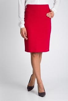 Czerwona ołówkowa plisowana spódnica QUIOSQUE