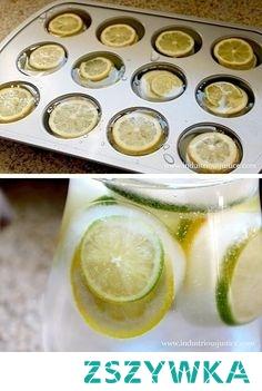 kostki lodu z cytryną i limonka