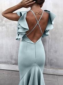 Solid Ruffles Backless Fishtail Maxi Dress Rozmiar: S, M, L, XL Kolor: light green
