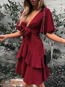 Knot Front Flared Sleeve Ruffles Casual Dress Rozmiar: S, M, L, XL Kolor: red